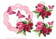 Red Roses and Butterflies Decoupage Frame