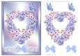 Watercolour Floral Heart with Decoupage Blue