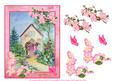 Apple Blossom Cottage with Flowers and Butterflies Decoupage