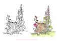 Digital Stamp Tree Stump with Coloured Version Too