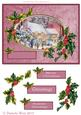 Cottages in the Snow with Holly Frame and Decoupage