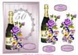 Champagne and Flowers 50th Birthday Decoupage Card