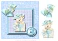 8x8 Blue Birthday Bear 3rd Birthday with Decoupage