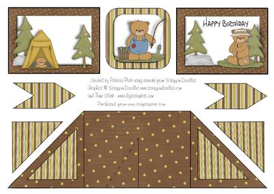 Criss cross pocket camping birthday bears card cup314089 for Cross in my pocket craft