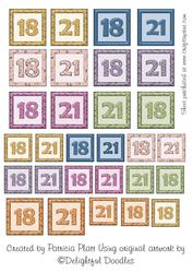 Numbers 18 and 21 Square Embelishments
