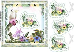 Tropical Birds Mothers Day Green