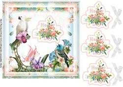 Tropical Birds Mothers Day Peach