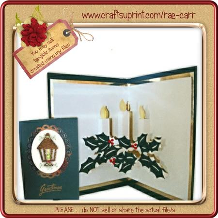 002 Candle Christmas Pop-up & Topper *machine Formats*