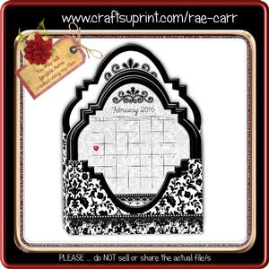 848 2016 Damask Calendar Box Card *studio*