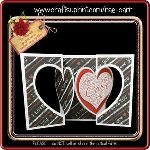 872 Double Heart Fold Back Card *multiple Machine Formats*