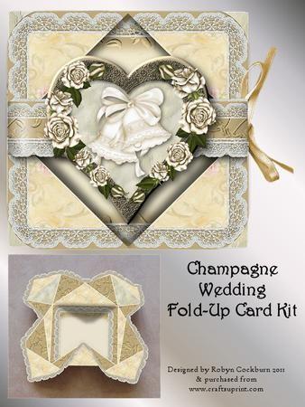 Champagne Wedding Handkerchief Fold Card Kit