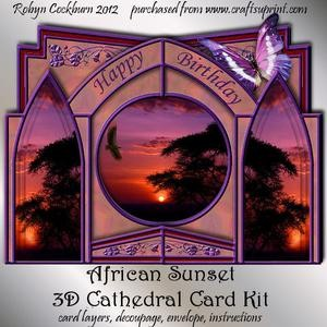African Sunset 3D Cathedral Card Kit