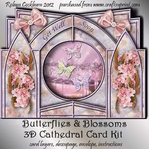 Butterflies & Blossoms 3D Cathedral Card Kit