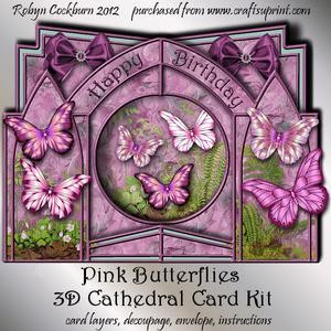 Pink Butterflies 3D Cathedral Card Kit