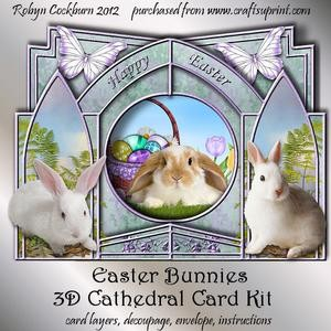 Easter Bunnies 3D Cathedral Card Kit