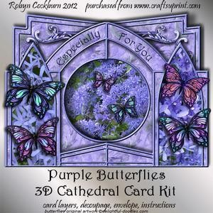 Purple Butterflies 3D Cathedral Card Kit