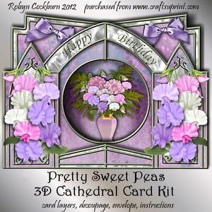 Pretty Sweet Peas 3D Cathedral Card Kit
