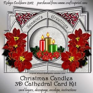 Christmas Candles 3D Cathedral Card Kit
