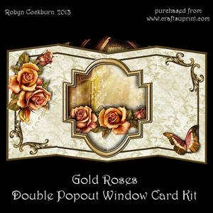 Gold Roses Double Popout Window Card Kit