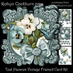 Teal Pansies Vintage Framed Card Kit