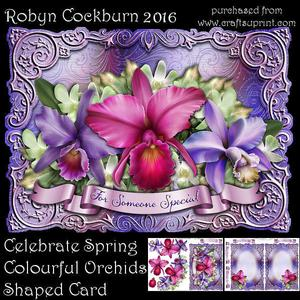 Celebrate Spring Colourful Orchids Shaped Card Mini Kit