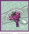 Lace Fan with Mauve Roses 6 Sheet Card Kit