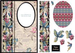Trendy Vintage Flowers Aperture Card