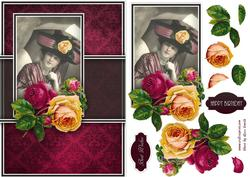 Lady with Pink Rose Quick Card