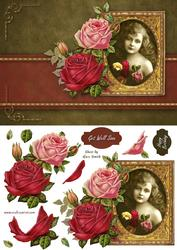 Striking Vintage Girl with Autumn Roses Quick Card