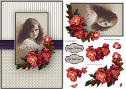 Vintage Girl with Autumn Roses Quick Card