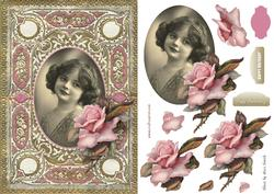 Vintage Girl with Big Pink Rose Quick Card