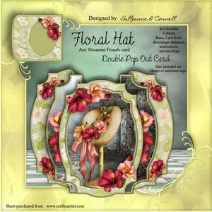 Floral Hat Double Pop Out Card