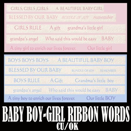 Baby Boy-girl Ribbon Words Png Format Cu-ok