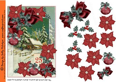 December 25th Red Poinsettia Holly and Christmas Bows