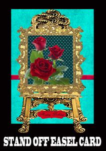 Stunning Red Roses Stand Off Easel Card