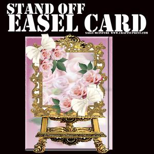 Stand Off Easel Card Pink Roses and Bows
