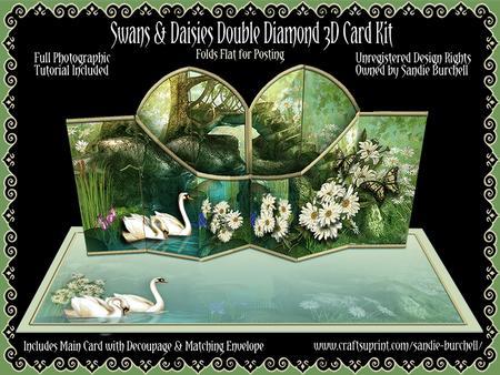 Swans & Daisies Double Diamond 3D Card Kit