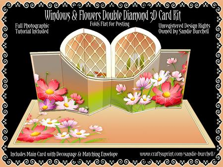 Window & Flowers Double Diamond 3D Card Kit