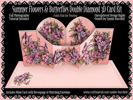 Summer Flowers & Butterflies Double Diamond 3D Card Kit