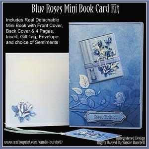 Blue Roses Mini Book Card Kit