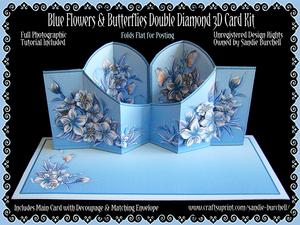Blue Flowers & Butterflies Double Diamond 3D Card Kit