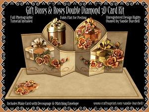 Gift Boxes & Roses Double Diamond 3D Card Kit