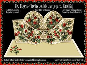 Red Roses & Trellis Double Diamond 3D Card Kit