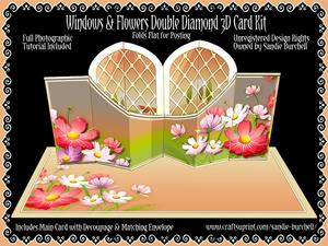Window & Flowers Double Diamond 3D Card Kit