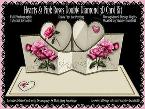 Hearts & Pink Roses Double Diamond 3D Card Kit
