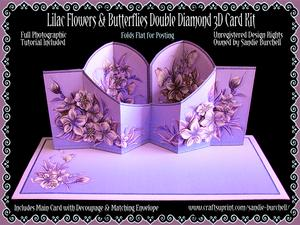 Lilac Flowers & Butterflies Double Diamond 3D Card Kit