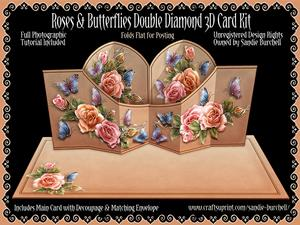 Roses & Butterflies Double Diamond 3D Card Kit