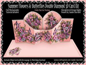 Summer Flowers & Butterflies Double Diamond 3D Card Kit