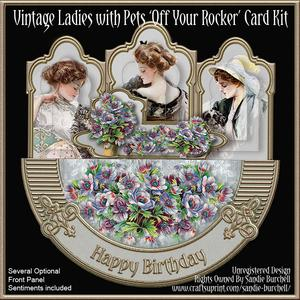 Vintage Ladies with Pets 'off Your Rocker' Card Kit
