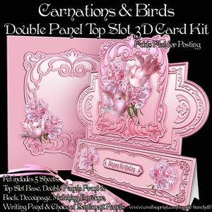 Carnations & Birds Double Panel Top Slot 3D Card Kit